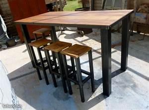 Table Haute En Bois : table mange debout bodega meuble industriel ameublement ~ Dailycaller-alerts.com Idées de Décoration