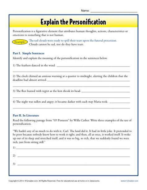 explain the personification figurative language worksheets