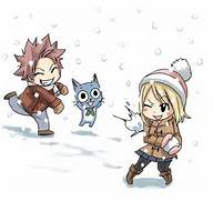 happy natsu and lucy see the pun fairy tail snowball fight more fairy  Chibi Fairy Tail Natsu