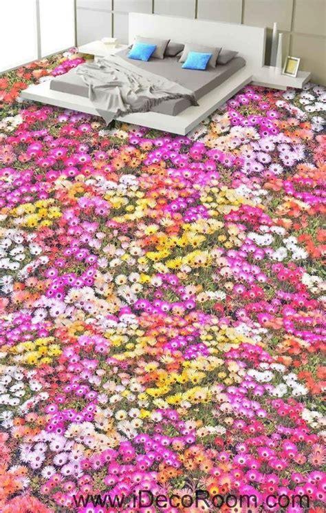 Pink Yellow White Daisy Flower 00027 Floor Decals 3D
