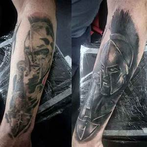3D detailed black ink forearm tattoo of angry Spartan ...