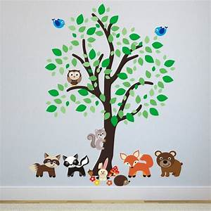 forest tree with woodland animals wall sticker by mirrorin With place to buy woodland creatures wall decals