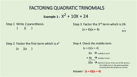 Factoring Quadratic Trinomials