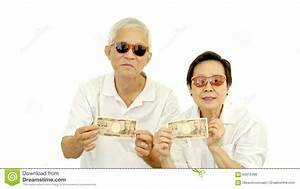 Happy Rich Cool Asian Senior Showing Cash Money Japanese ...