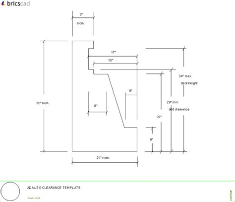 bathroom sink ada leg clearance template aia cad details zipped into