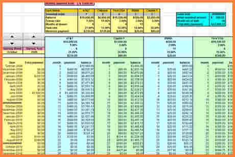 credit card debt payoff spreadsheet excel