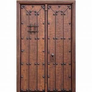 Porte d39entree artisanale 2 battants en bois massif for Porte d entrée 2 battants