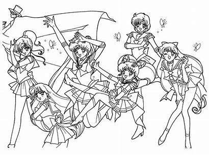 Sailor Moon Coloring Friends Printable Coloriage Dibujos