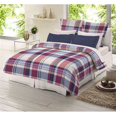 Check Duvet Cover by Dormisette Blue And Check Tartan 100 Brushed Cotton