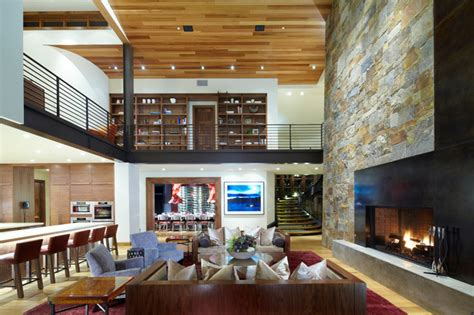 modern mountain chalet cozy interiors contemporary