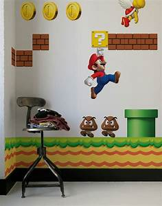 cool kids wall stickers for super mario themed room from With inspiring nintendo wall decals for kids room