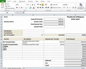 travel agency invoice template excel tmp With travel agency invoice