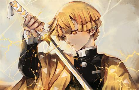 zenitsu agatsuma anime art wallpaper hd anime