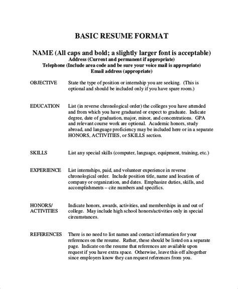 Exle Of A Basic Resume by Basic Resume Sles Exles Templates 8 Documents
