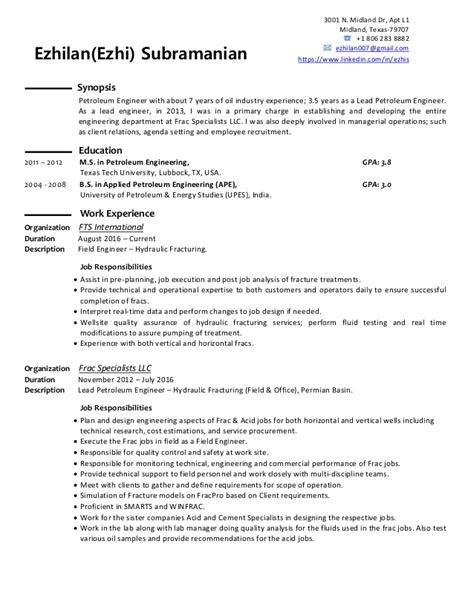 Petroleum Engineer Resume by Ezhi Subramanian Petroleum Engineer Resume
