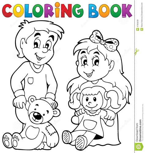 coloring book children  toys  stock vector image