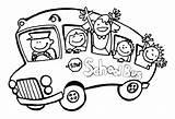 Printable Coloring Bus Preschool Sheets Cartoon sketch template