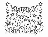 Birthday 18th Coloring Banner Printable Letter sketch template