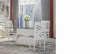 Table A Manger Blanc Et Bois : table manger en verre blanc laqu et couleur bois moderne vanille ~ Teatrodelosmanantiales.com Idées de Décoration