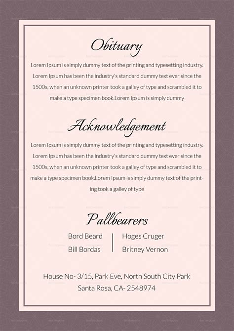 editable funeral obituary template  adobe photoshop