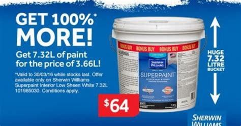 Get 100% More @ Masters  72 Lt Of Sherwinwilliams Paint