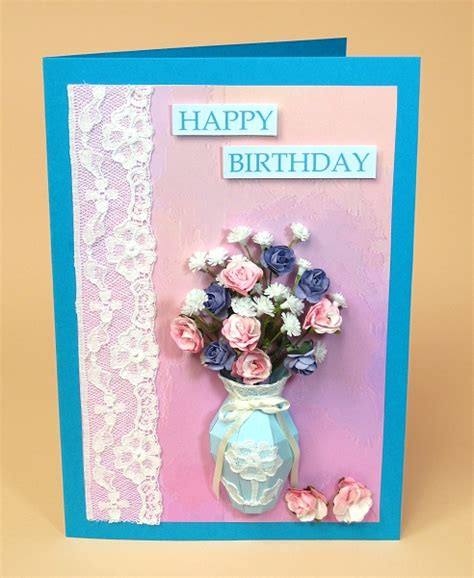 Card Making Templates For 3d Vase Greeting Card