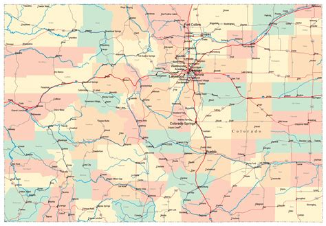 detailed administrative map  colorado state  roads