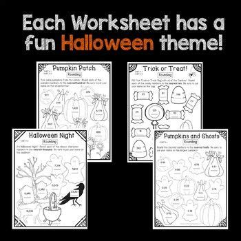 halloween math worksheets rounding numbers  grade