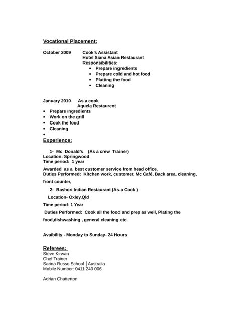 Grill Cook Skills Resume by Professional Grill Cook Resume Template Page 2