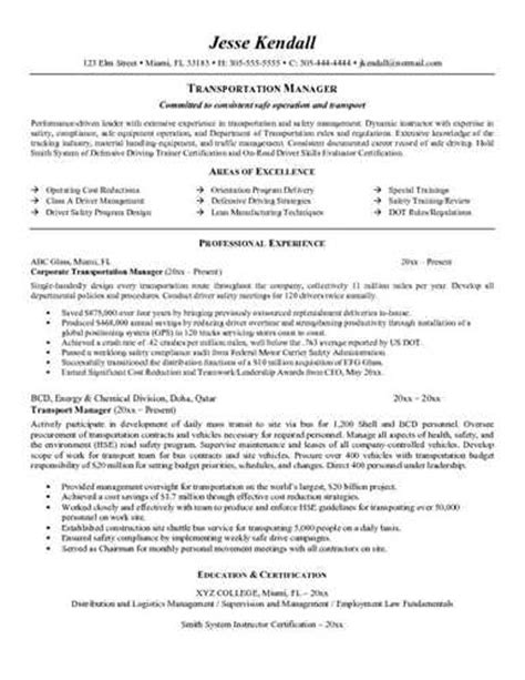 sle transportation manager resume