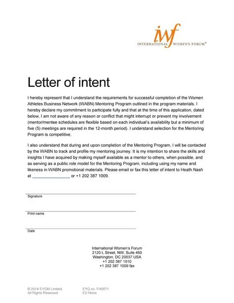 letter  intent templates samples  job school
