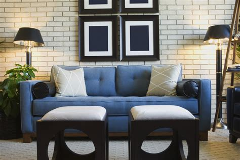 Navy Blue Sectional Sofa And White Wall Brick Can Be An Inspiration For Small Living Room Design