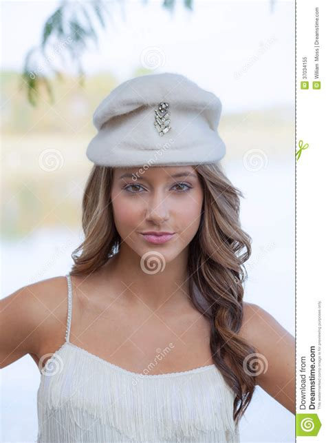 Teen Model In Vintage Hat Stock Image Image Of Fringe 37034155