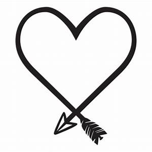 arrow heart clipart black and white for silhouette ...