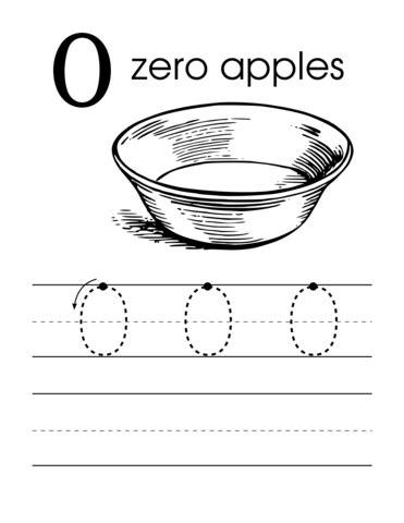 number 0 zero handwriting worksheet preschool with apples