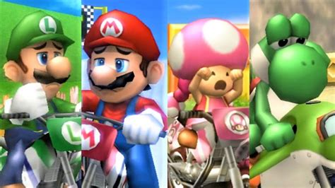 Mario Kart Wii All Characters Losing Animations Youtube