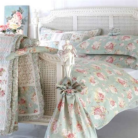 shabby chic bedding in blue sashi elisha floral patchwork 100 cotton quilted pillow sham duck egg blue