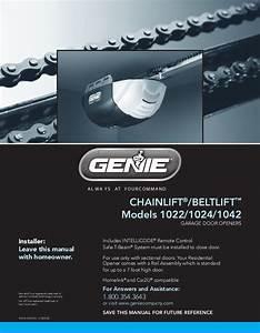 Genie Garage Door Opener 1022 User U0026 39 S Guide