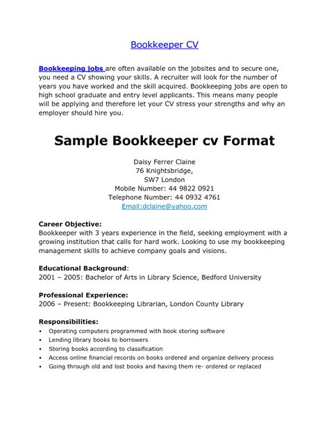 Charge Bookkeeper Description Sle by 11 Bookkeeper Descriptions Slebusinessresume