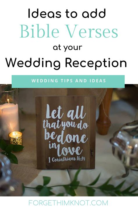 christian wedding reception bible verses forget him knot