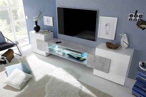 Sorriso Low TV Unit   White Gloss with Grey/Black/Natural