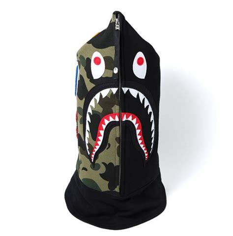 bape shark face mask hood black superbored clothing