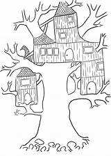 Coloring Tree Treehouse Printable Cool Fairy sketch template