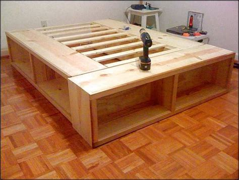 full size bed frame  storage plans woodworking diy