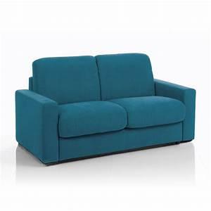 Canapé Bleu Convertible : canap convertible 3 places tissu d houssable bleu canard maison et styles ~ Teatrodelosmanantiales.com Idées de Décoration