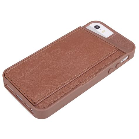 iphone 5s with card holder shockproof tpu leather credit card id holder wallet