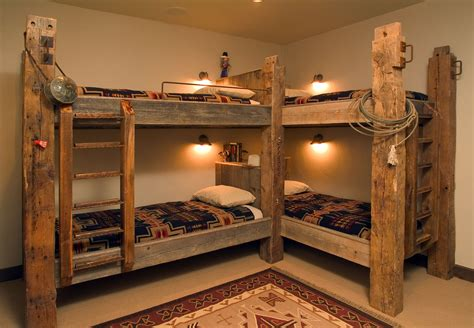 traditional style bunk beds featuring timbers  western