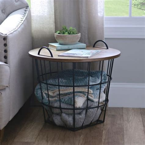 side table with baskets industrial wire and wood basket side table industrial