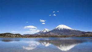 Mountain, Landscape, Reflection, On, Chile, Lake, With, Blue, Sky