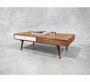 Table Basse Scandinave 2 Tiroirs Gris 39Vintage Grey39 7261